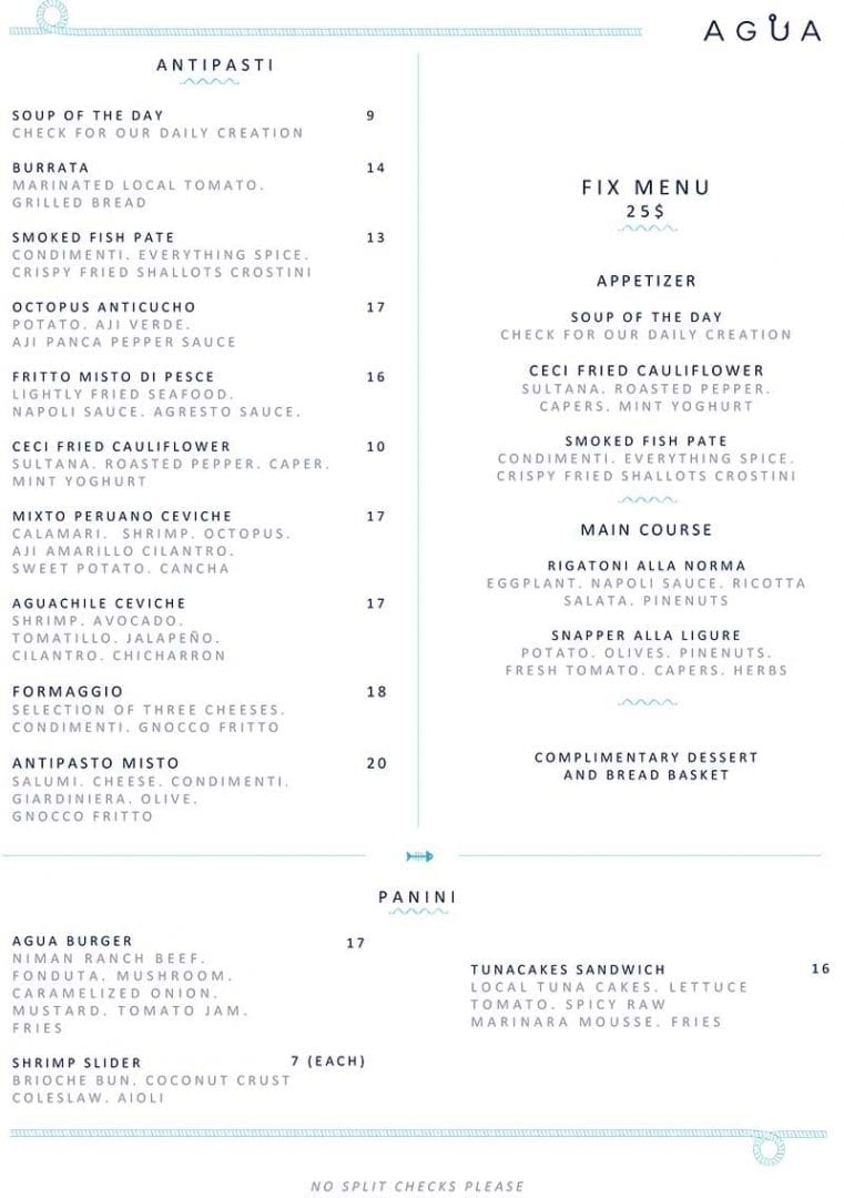 Agua Restaurant Delivery Menu page 1