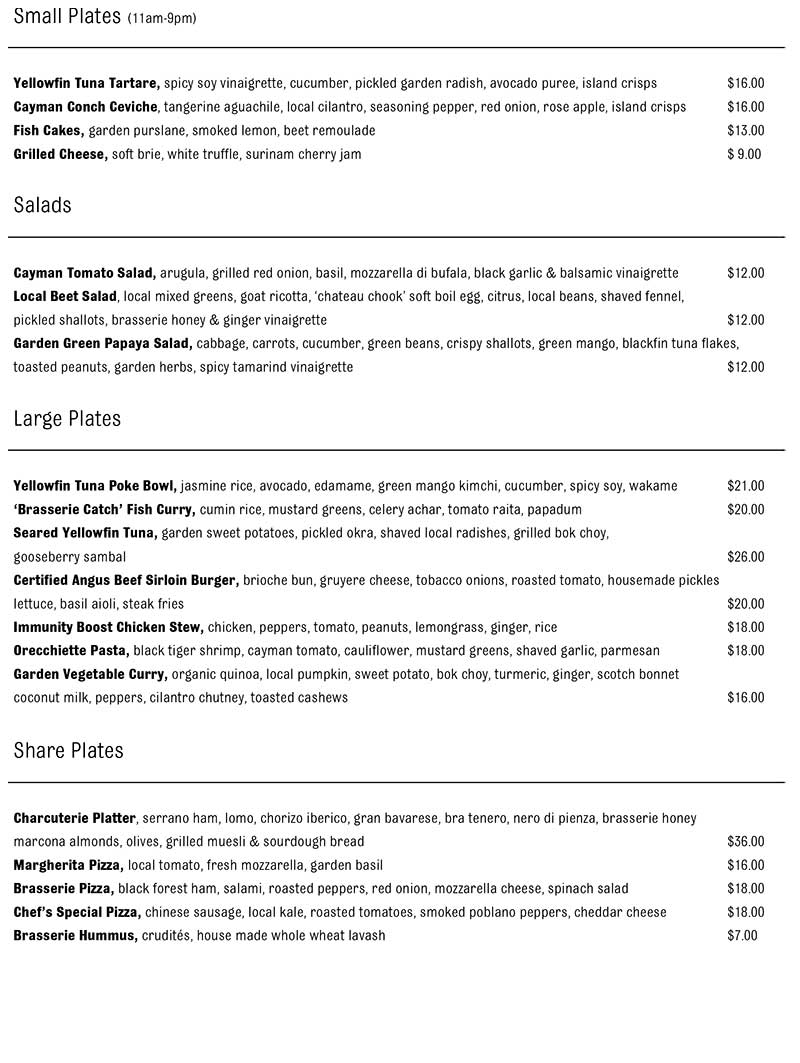 The Brasserie Delivery Takeout Menu page 1