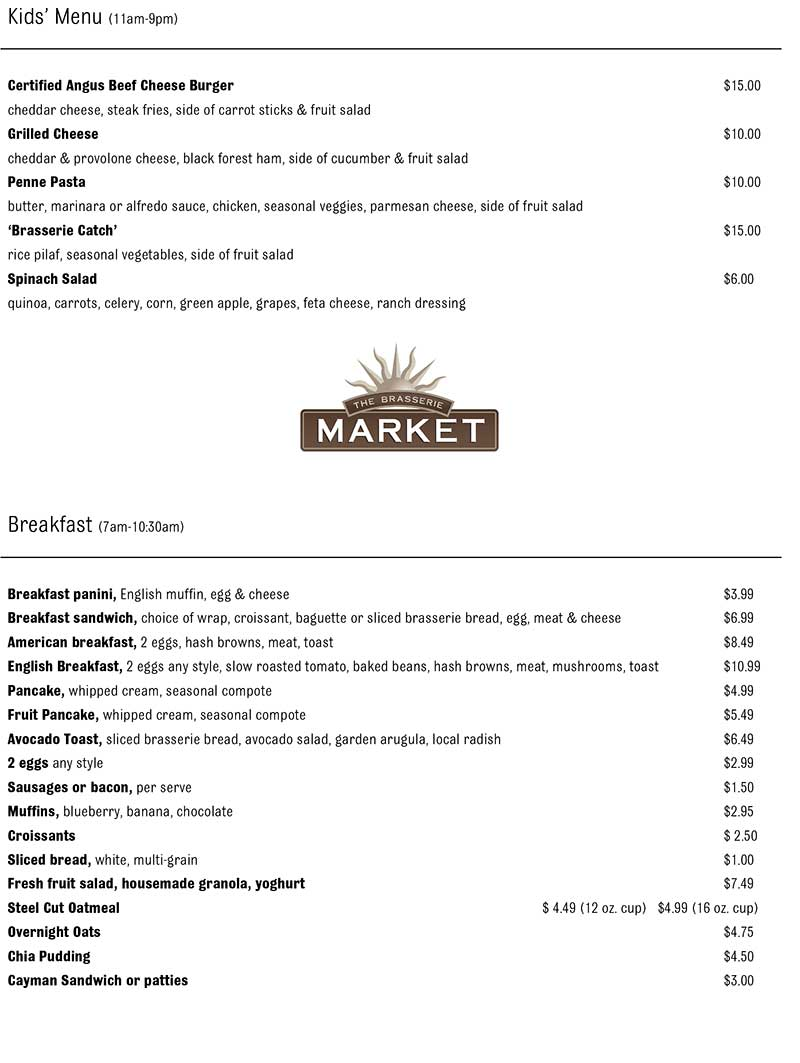 The Brasserie Delivery Takeout Menu page 2