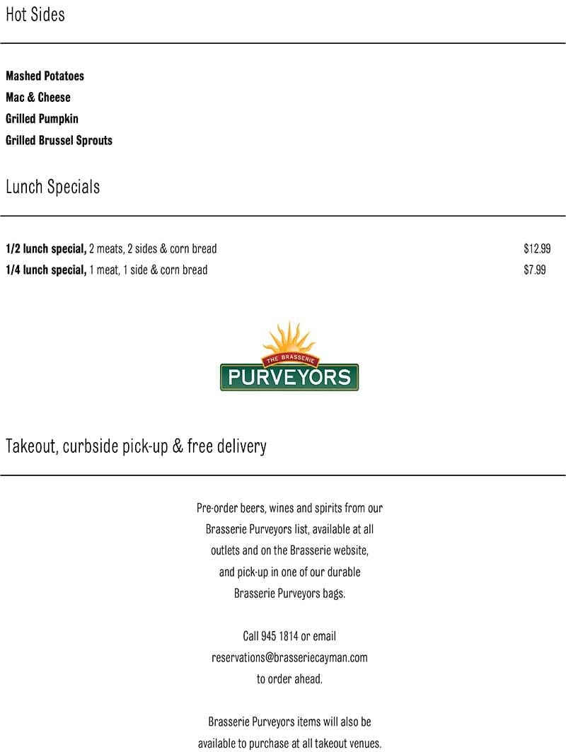 The Brasserie Delivery Takeout Menu page 5