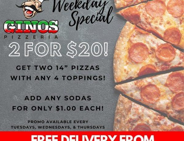 Ginos Pizzeria Special 2 for $20