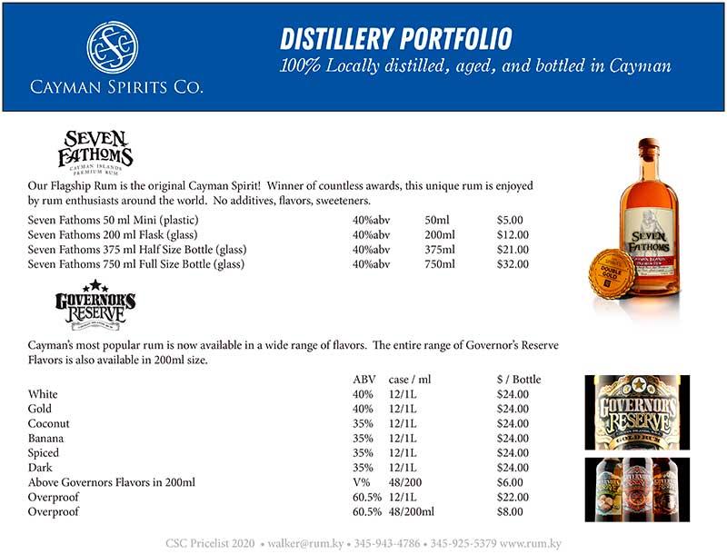 Cayman Spirits price list page 1