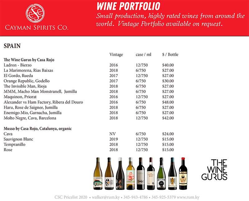 Cayman Spirits price list page 11