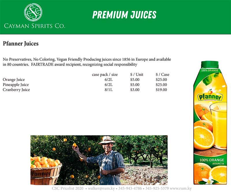 Cayman Spirits price list page 13
