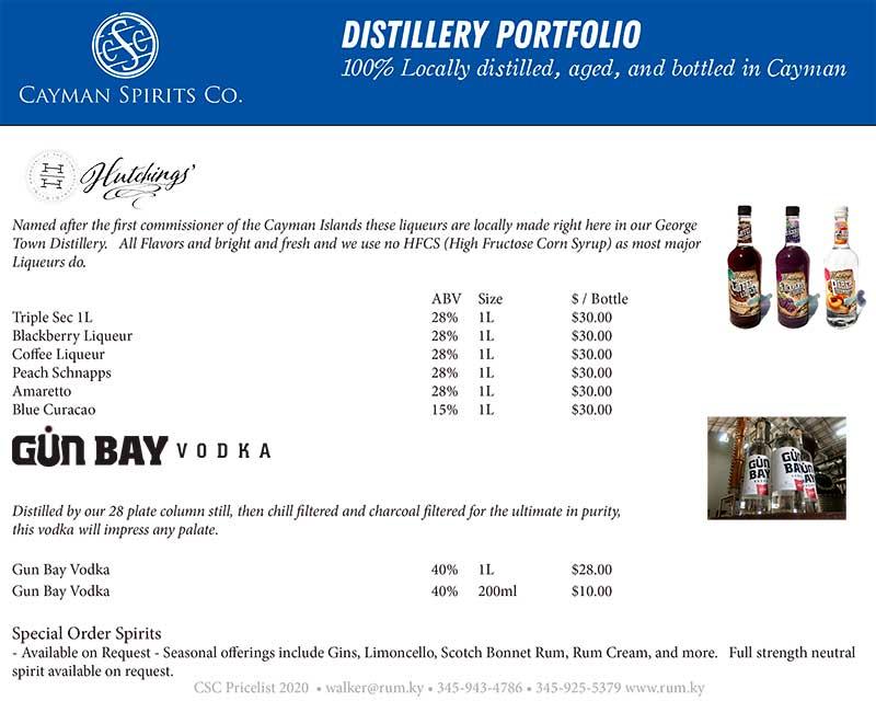 Cayman Spirits price list page 2