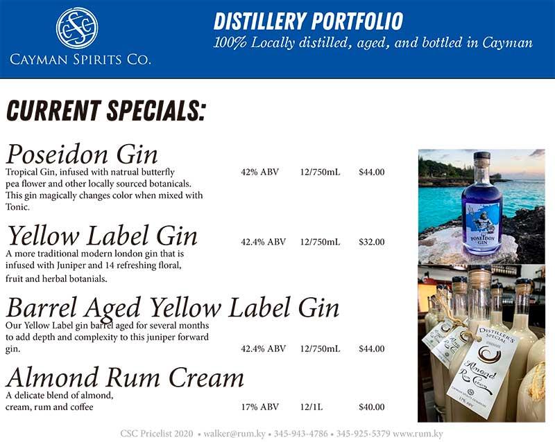 Cayman Spirits price list page 5