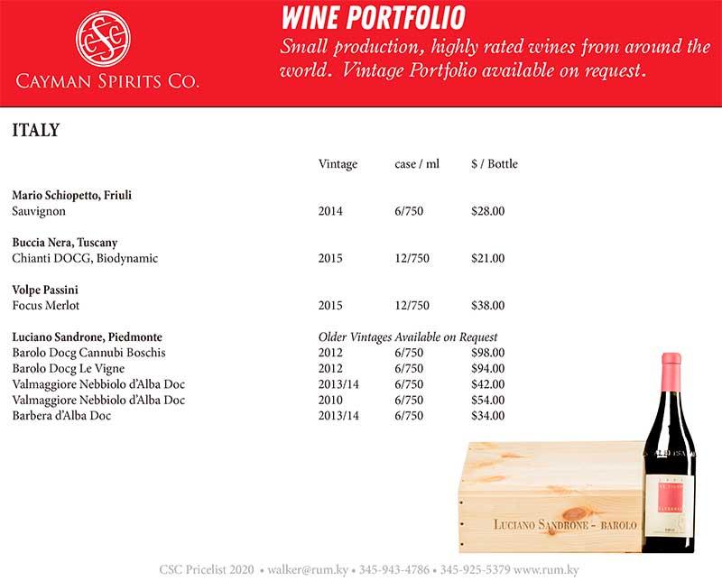 Cayman Spirits price list page 7