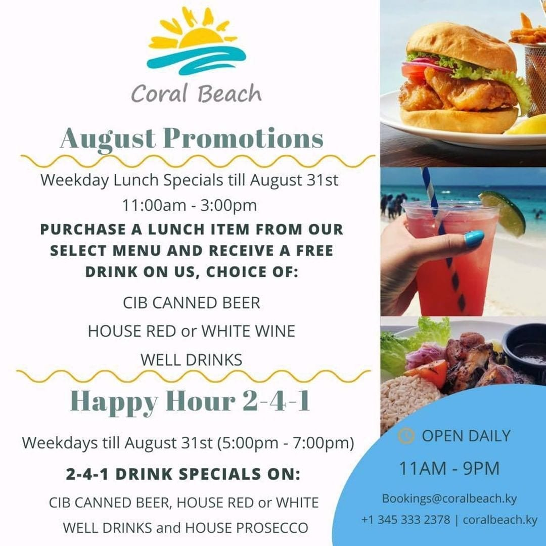 Coral Beach August Promotions