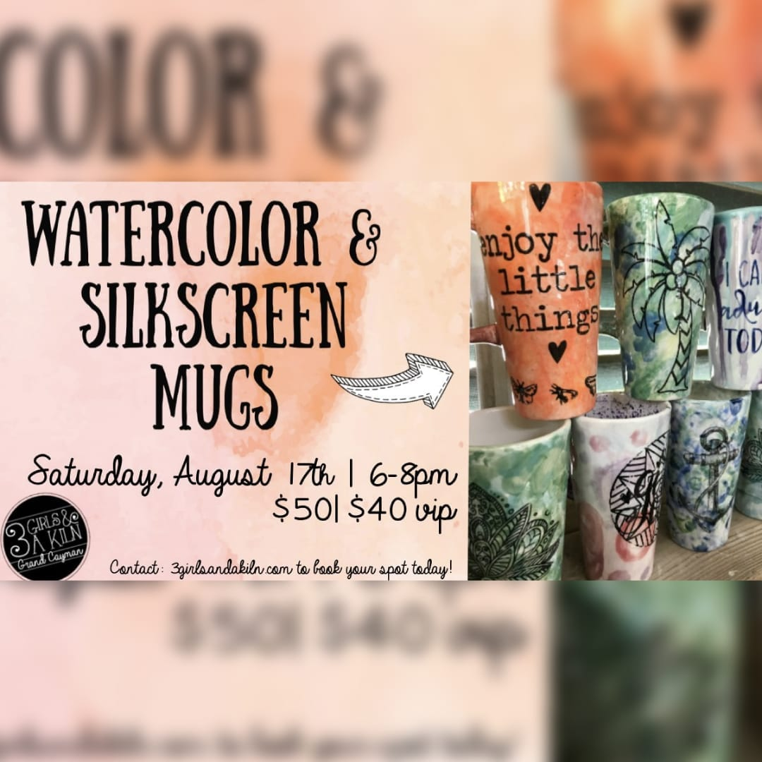 Watercolor Silkscreen Mug Class